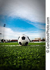 Soccer Football on the green grass of Soccer field. - Image...