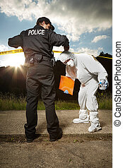 Police team of technician and police man in uniform - Police...