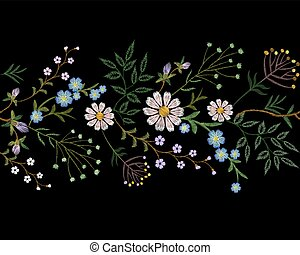 Embroidery trend floral border small branches herb leaf with little blue violet flower daisy chamomile. Ornate traditional folk fashion patch design neckline blossom background vector illustration