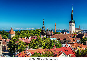 Tallinn, Estonia: aerial top view of the old town
