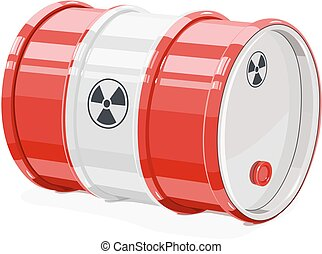 Red metal barrel for toxic and radioactive waste. Equipment...