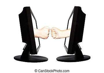 Virtual game by internet hand shape of paper scissors stone on white background - internet business concept 3