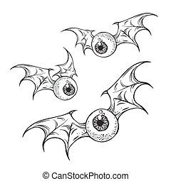 Flying eyeballs with creepy wings halloween design - Flying...