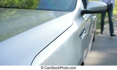 Handsome entrepreneur getting into parked car - Successful...