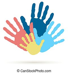 Handprint of family, team, united , support. Vector
