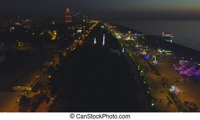 Night aerial view of Batumi - capital of Adjara, Georgia