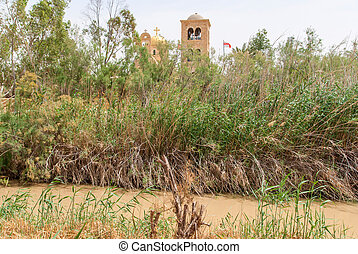 Jordan river , Israel - The baptismal site Qasr al Yahud in...