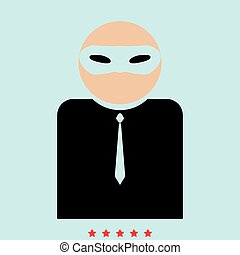 The man incognito in a mask  it is color icon .