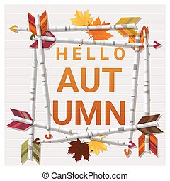 Hello autumn background with arrows on wooden board 2 -...