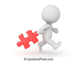 3D Character dragging behind a red puzzle piece. Isolated on...