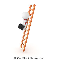 3D Character climbing the corporate ladder