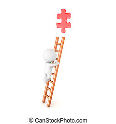 3D Character climbing a ladder and trying to grab a red puzzle piece
