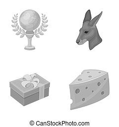 cinematograph, packing and other monochrome icon in cartoon...