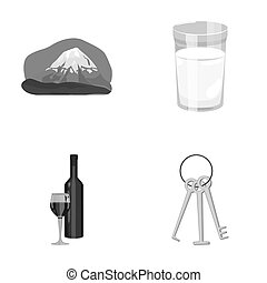 travel, alcohol and other monochrome icon in cartoon...