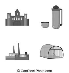 travel, oil refining and other monochrome icon in cartoon...