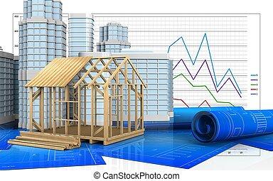 3d of frame house construction - 3d illustration of frame...
