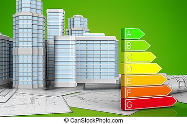 3d of power rating - 3d illustration of power rating with...