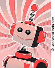 Valentine Robot Portrait Smiling Sw - Bright red and pink...