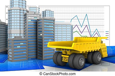3d illustration of city buildings with urban scene over...