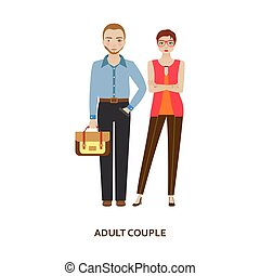 Adult couple character. Family without children. Cartoon...
