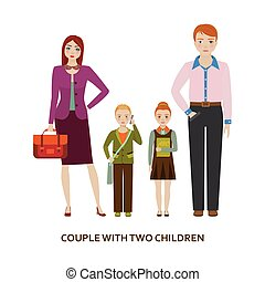 Couple with two children. Cartoon illustration - Couple with...