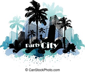 Tropical urban party city background