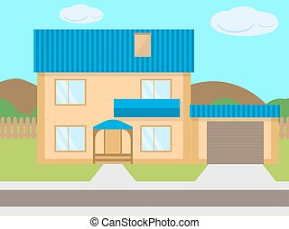Vector cartoon two-story house garage green lawn - Vector...