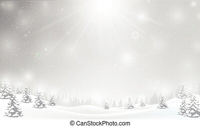 Winter snowflake falling into snow floor and lighting over...