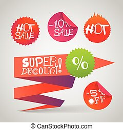 Color polygonal origami shopping banners. Super discount