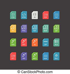 Different file types thin line color icons vector set
