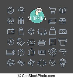 Different shopping icons vector collection. Web and mobile...