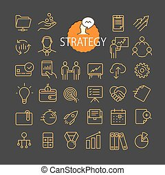 Different business strategy icons vector collection. Web and mobile app outline icons set on dark background