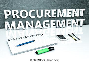 Procurement Management - text concept with chalkboard,...