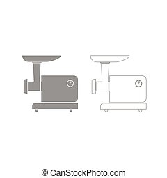 Electric meat mincer grey set icon . - Electric meat mincer...