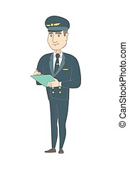 Caucasian steward holding clipboard with documents - Young...