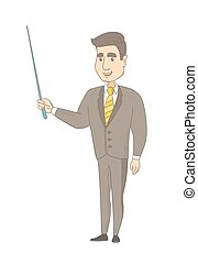 Young caucasian businessman with a pointer. - Young...