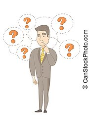 Young caucasian businessman under question marks. -...