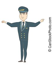 Young caucasian pilot with arms outstretched. - Young...