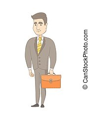 Young caucasian businessman holding briefcase.