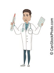 Otolaryngologist holding thermometer and pills. - Hispanic...