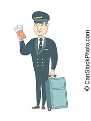 Caucasian steward showing passport and ticket. - Young...
