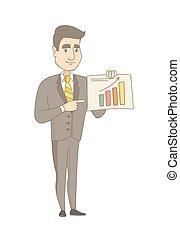 Caucasian businessman showing financial chart. - Caucasian...