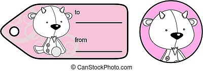 cute baby plush goat cartoon giftcard sticker in vector...