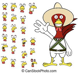 funny chicken mexican expressions cartoon set5 - funny...