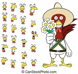 funny chicken mexican expressions cartoon set6 - funny...