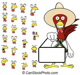singboard chicken mexican expressions cartoon set11 - funny...