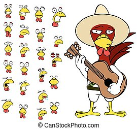 funny chicken mexican expressions cartoon set12 - funny...