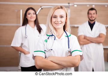 醫生, 醫學, 軍醫, 充滿信心, 隊, 肖像, 白膚金髮