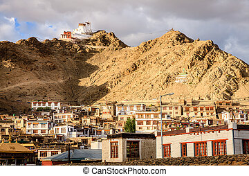 Leh, Ladakh, India - View to a residential area of city of...