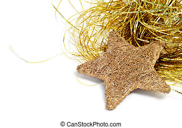 christmas star - a golden christmas star and golden tinsel...